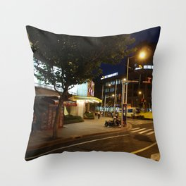 Shanghai Streets at Night Throw Pillow