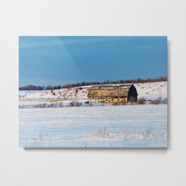 Barn gets a little glow from the Sun as it sits, waiting to be torn apart. Metal Print