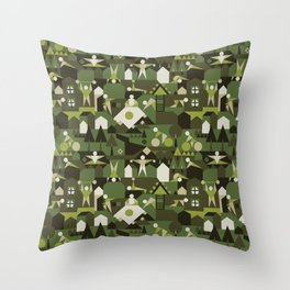 Indoors & outdoors (green camo) Throw Pillow
