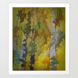 Golden Colors of Fall Abstract Art Print