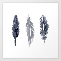 Black watercolor feathers Art Print