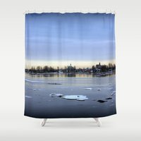 finland Shower Curtains featuring helsinki (finland) - island by aune