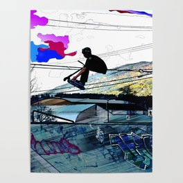 Let's Scoot! - Stunt Scooter at Skate Park Poster