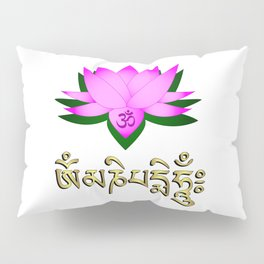 Lotus flower, om symbol and mantra 'om mani padme hum' Pillow Sham