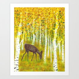 Deer Grazing in a Grove of Golden Aspen Trees Art Print