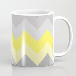 Yellow Grey Gray Ombre Chevron Coffee Mug