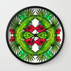Palm Leaves and Hibiscus Wall Clock