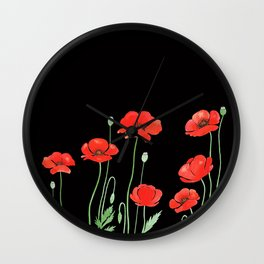 Red Poppies in Black Wall Clock