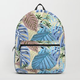 Blue and purple tropical leaves. Backpack