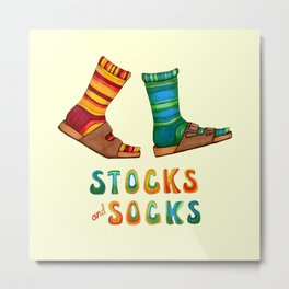 Stocks And Socks with Groovy Lettering Metal Print
