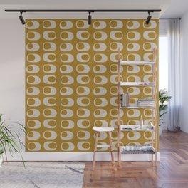 Googie Midcentury Minimalist Pattern in Gold Wall Mural