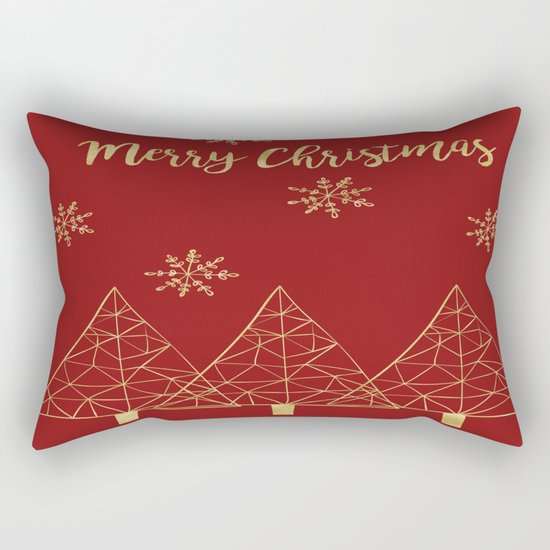 Merry Christmas Red and Gold Rectangular Pillow