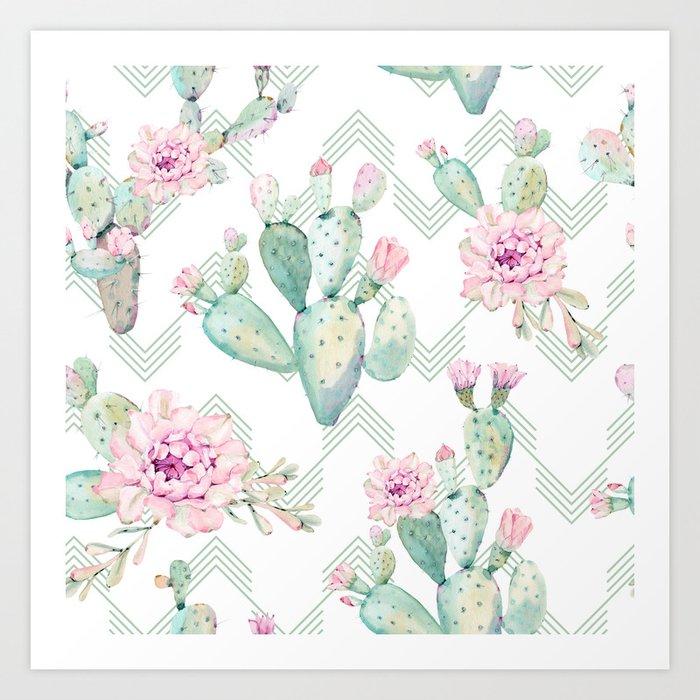 Cactus Rose Deconstructed Chevron Art Print