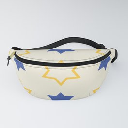 Star of David Yellow and  Blue on Cream background Fanny Pack
