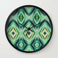 green pattern Wall Clocks featuring Pattern green  by Christine baessler