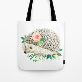 hedgehog with rose Tote Bag