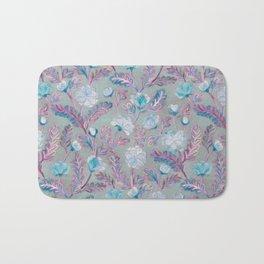 Soft Smudgy Blue and Purple Floral Pattern Bath Mat