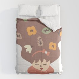 cute girl and fall life design elements autumn concept illustration Comforters