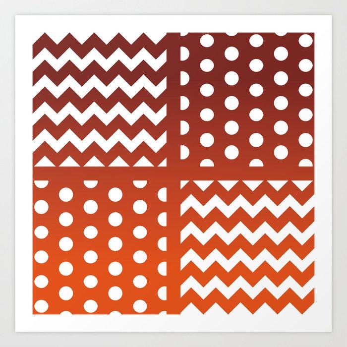 Autumn Gradient/White Chevron/Polkadot Pattern Zigzag Spot Fall Decor #ArtofGaneneK Kunstdrucke