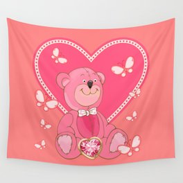 Teddy Bear and Butterflies Wall Tapestry