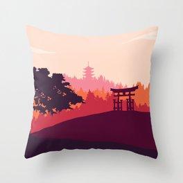Japanese landscape Throw Pillow
