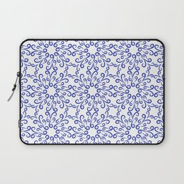 Blue elements of flowers collected in a dense pattern Laptop Sleeve