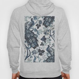 Blue Chinoiserie, peacocks, blue and white, chintz pattern Hoody
