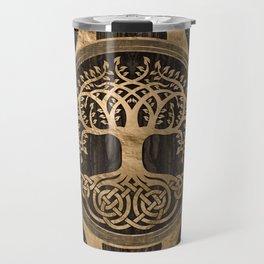 Tree of life -Yggdrasil - Wood Bark and Gold Travel Mug