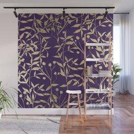 Stylish elegant purple gold foil berries leaves foliage Wall Mural