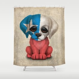 Cute Puppy Dog with flag of Chile Shower Curtain