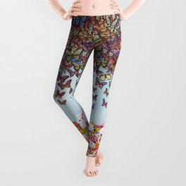bunnies, flowers, and butterflies Leggings