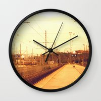 finland Wall Clocks featuring helsinki (finland) - railway station by aune