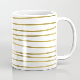 Small simply uneven luxury gold glitter stripes on clear white - horizontal pattern Coffee Mug