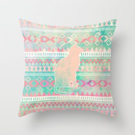Whimsical Cat, Pink Turquoise Girly Aztec Pattern Throw Pillow