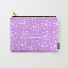 Hand painted modern lilac white Christmas snow flakes Carry-All Pouch