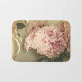 Painted Peonies -- Botanical Still Life Bath Mat