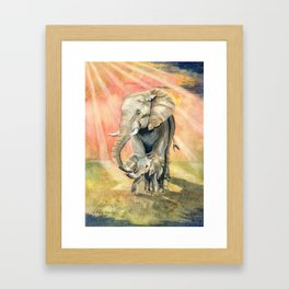 Mom and Baby Elephant Framed Art Print