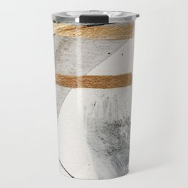Armor [7]: a bold minimal abstract mixed media piece in gold, black and white Travel Mug