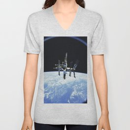 Russias Mir space station is backdropped against Earths horizon Unisex V-Neck
