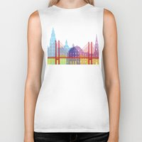 copenhagen Biker Tanks featuring Copenhagen skyline pop by Paulrommer