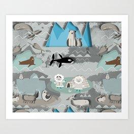 Arctic animals grey Art Print
