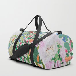 Painterly Floral Jungle on Pink and White Duffle Bag