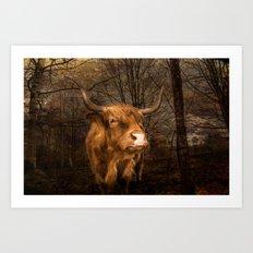 Highland Toffee Coo Art Print