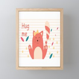 Cat Hug me Framed Mini Art Print