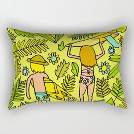 Wander On // Single fin Twin Fin surf art tropical Rectangular Pillow