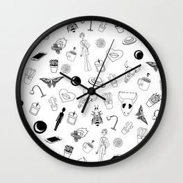 Black Eclectic Pattern Wall Clock