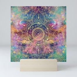 Gold watercolor and nebula mandala Mini Art Print