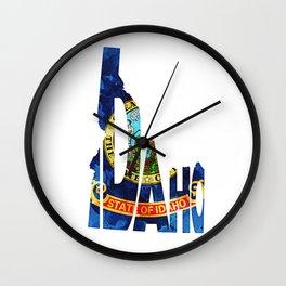 Idaho Typographic Flag Map Art Wall Clock