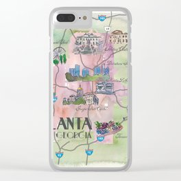 Atlanta Favorite Map with touristic Top Ten Highlights in Colorful Retro Style Clear iPhone Case