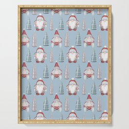 CHRISTMAS GNOMES - light blue Serving Tray